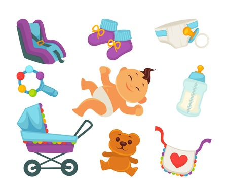 swaddle: Baby or child birth and happy motherhood flat icons of newborn boy or girl child in diaper. Vector carriage pram, rattle or bear toy and milk bottle nipple for maternity or baby shower greeting card Illustration