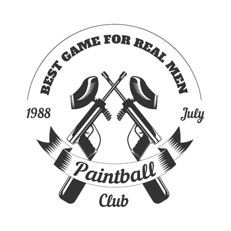 paintball: Paintball club sport game paint ball rifle gun mask target vector icon