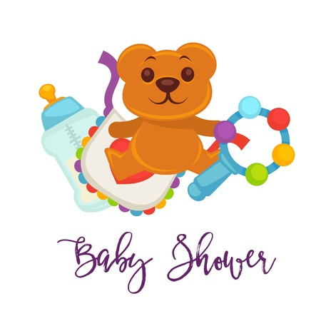 Baby shower greeting card for boy or girl child birth or invitation poster with text lettering. Vector baby bear toy, rattle or milk bottle nipple and baby diapers for happy motherhood design template Illustration