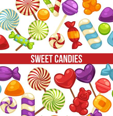Candies sweets and confectionery comfits, caramel lollipops vector poster