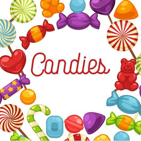Candies sweets and confectionery candy comfits, caramel lollipops vector poster