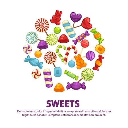 Candies and caramel lollipop sweets and confectionery comfits vector poster
