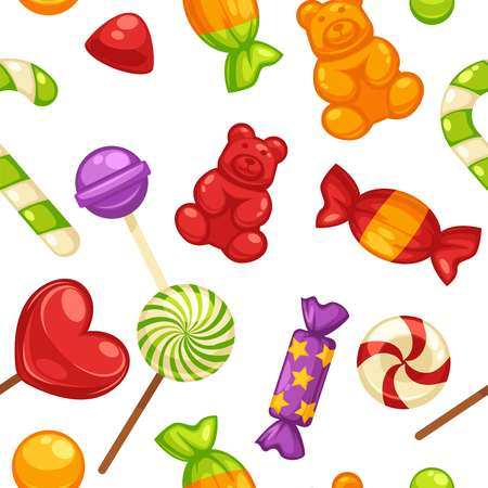 Candy and caramel sweets vector seamless pattern background