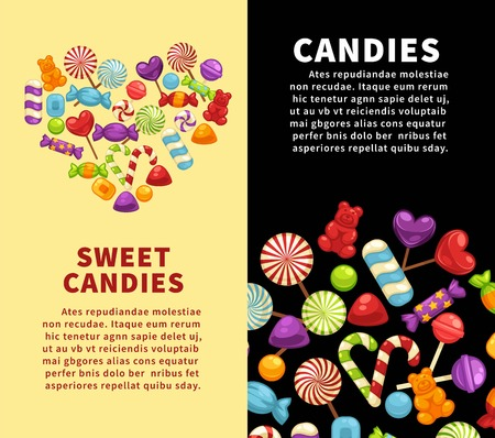 Candies sweets and confectionery candy shop vector poster