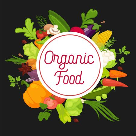 Organic food advertisement banner with fresh products in circle