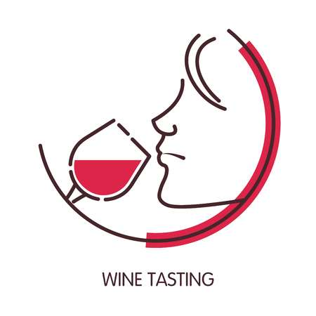Wine tasting logo with female profile and glass Vettoriali
