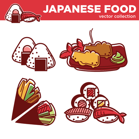 Japanese food vector collection of tasty exotic dishes