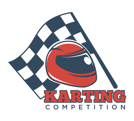 Karting competition logotype with helmet for races and flag Illustration