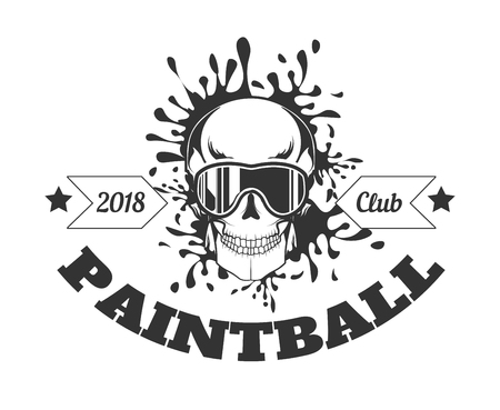 Paintball club 2018 monochrome logotype with skull in mask