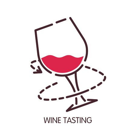 winemaking: Wine tasting glass vector icon for sommelier degustation infographic