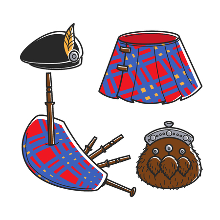 Scot Bagpipe musician traditional accessories isolated illustrations set