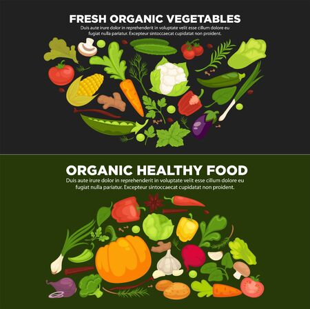 Healthy organic food promotional poster with fresh vegetables