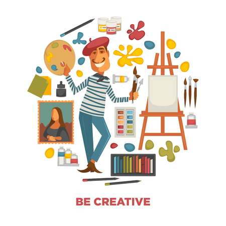 Creative poster with artist and tools to paint in circle.