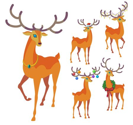 new: Reindeer Christmas icon. Graceful deer collection. Illustration