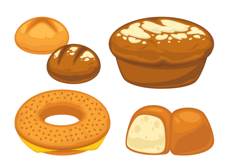 bun: Bread flat icons set for bakery shop or patisserie.