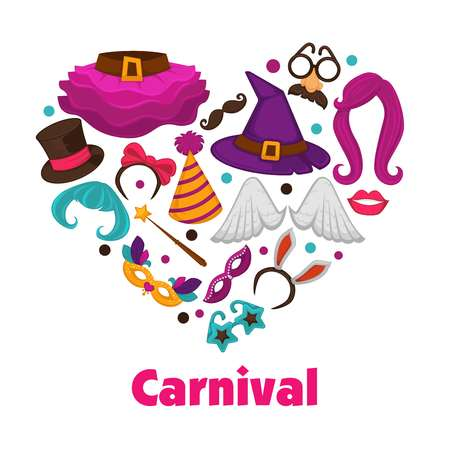 Carnival party promo poster with accessories and garments inside heart.