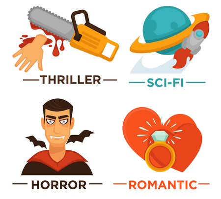 globe theatre: Movie genre icons. Vector flat isolated symbols set for cinema or channel movie genre tag.