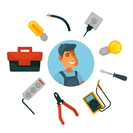 Electrician profession infographics poster template.