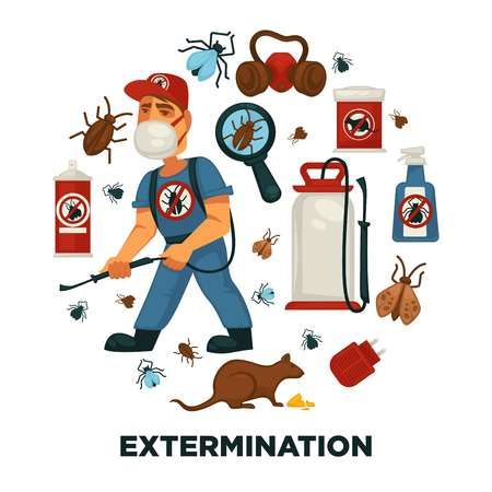 Plantilla de cartel de información de empresa de servicio de exterminio o control de plagas para desinfección doméstica sanitaria. Foto de archivo - 89839581