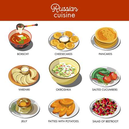 Russian cuisine traditional food dishes. Stock Illustratie