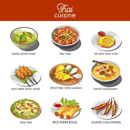Thai cuisine food and traditional dishes.
