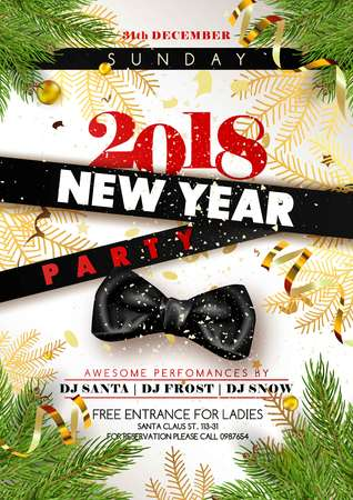 New Year 2018 party promotional poster with black silk bow, stripes with signs and gold serpentine and decorations vector