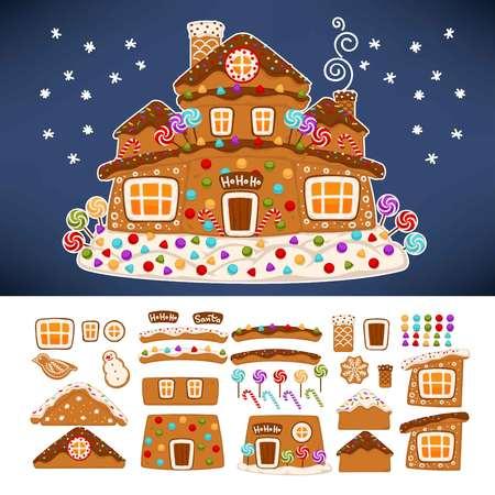 Icônes de constructeur de maison de biscuit de pain d'épice de Noël.