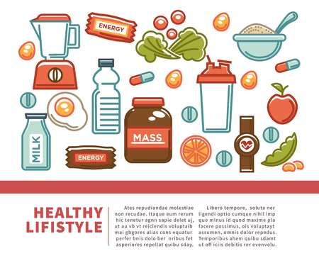 Fitness food poster of sports healthy diet food nutrition icons.