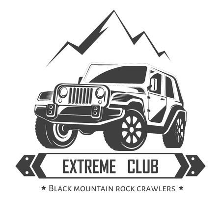 Off-road 4x4 Extreme Car Club Signage Template. Royalty Free ...