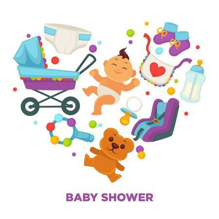 Baby shower greeting card for boy or girl child birth or invitation poster. Illustration