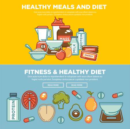 Fitness food and sports healthy diet food nutrition flat banners design.