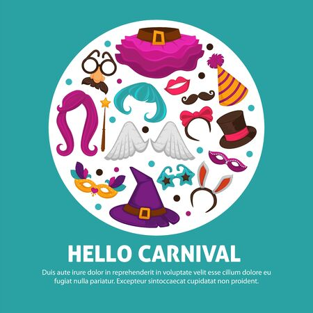 Great carnival party advertisement banner with costume accessories inside circle isolated vector illustrations on white background.