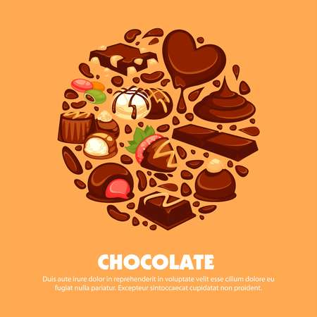 snack bar: Delicious chocolate products of high quality promotional poster.