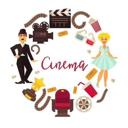 Retro cinema or movie time cinematography poster.