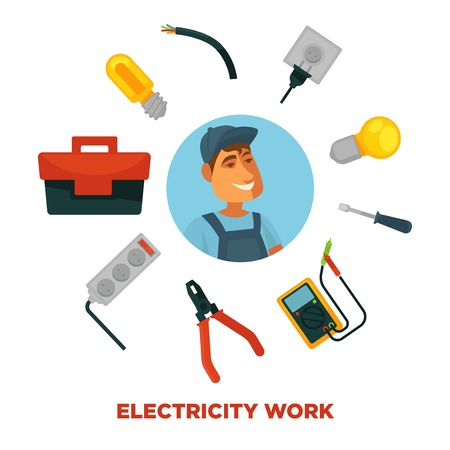 wire cutter: Electrician profession infographics poster template.