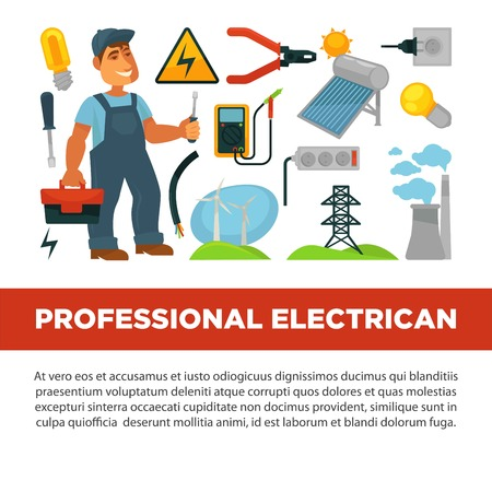 Professional electrician services promotional poster with man with toolkit.