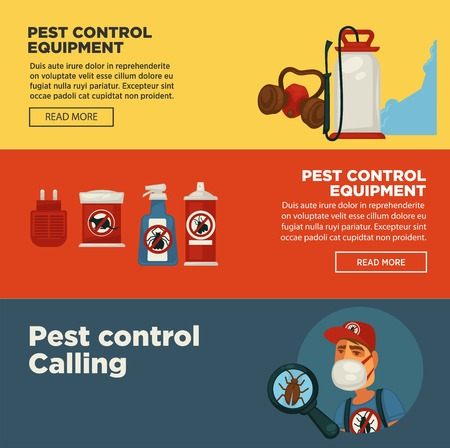fumigador: Extermination pest control service banners template design of sanitary domestic exterminate disinfection equipment. Vectores
