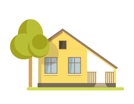 veranda: Cute cottage brick house vector illustration.