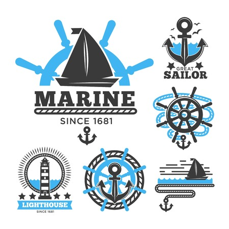 Marine and nautical logo templates or heraldic symbols. Stock Vector - 89916458