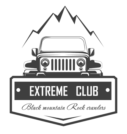 Off-road extreme car club template. Vector symbol or icon of off road car