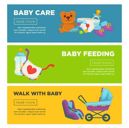 Baby care and newborn child motherhood web banners template flat design. Vector information poster of happy mother, baby carriage and child clothing, diapers and toys