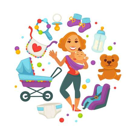 Baby shower greeting card for boy or girl child birth or invitation poster. Vector baby, toys or diapers and child carriage or pram icons for happy motherhood design template