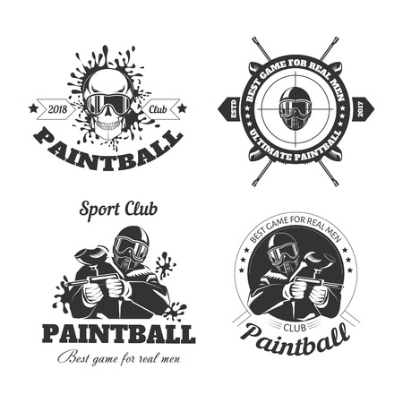 Paintball spel sport club logo sjablonen van gamer schieten doel of paint ball gun Stock Illustratie