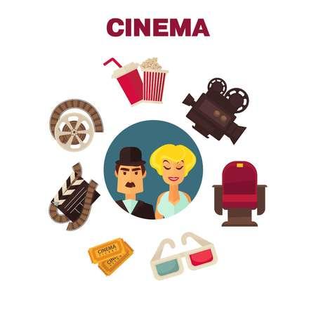 Retro cinema movie cinematography poster of actors and cinematograph equipment.