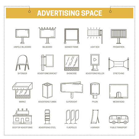 Advertising media constructions spaces icons set