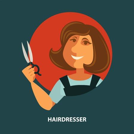 머리 미용 미용실 포스터 일러스트