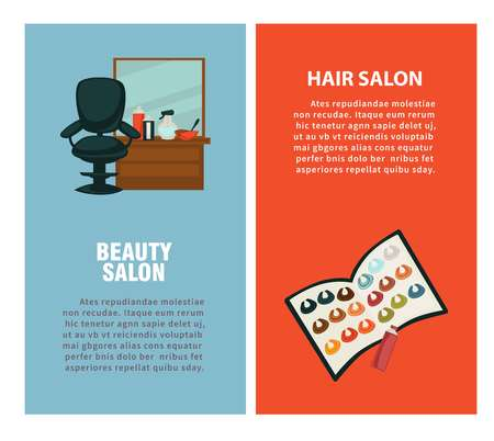 Hair salon poster for dye coloring and haircut styling 일러스트
