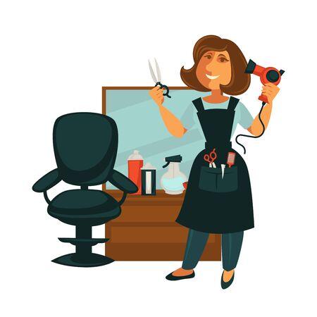 Hairdresser woman in beauty salon