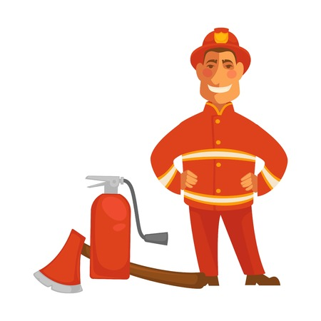 Fireman with extinguisher and ax icon