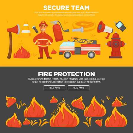 Fire protection and security instruction web banners Vettoriali